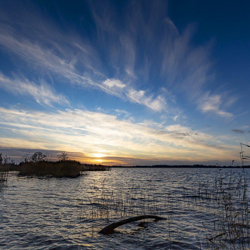 Pejzaż Jeziora Dąbie podczas wschodu słońca.